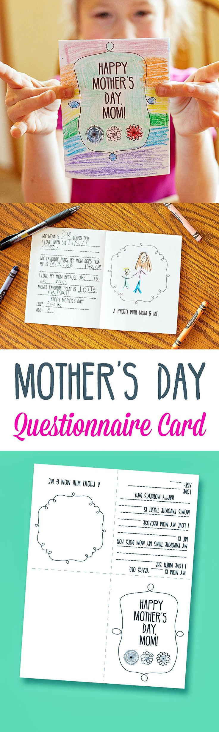Mother's Day Questionnaire Fill-In Card Printable - cute idea for the kids to make on Mother's Day!