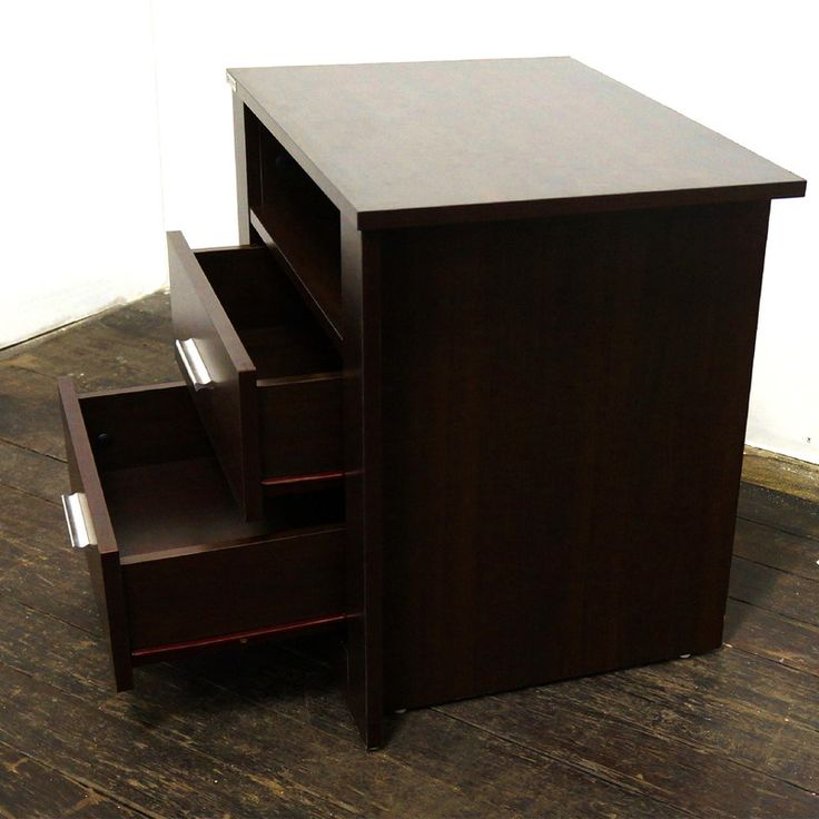 Bondi Retro Bedside Table with 2 Drawers in Walnut | Buy Wooden Bedside Tables