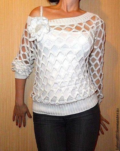 Вязаная кофта-сетка на одно плечо - белый,однотонный,пуловер,сетка,вязаный