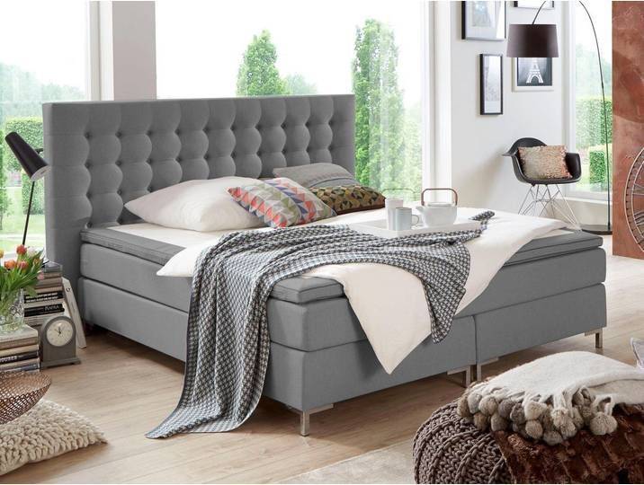 Boxspringbetten 140x200 Cm H2 Grau Atlantic Home Collection Mit T 140x200 Atlantic Bettgrau B In 2020 Atlantic Home Collection Boxspringbett Wohnaccessoires