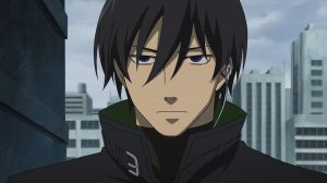 #1 on my emotionless badass top ten list is: HEI from Darker than Black!!!  The first moment he loses the shy guy act and his eyes turn cold...one of the best moments in any anime EVER!  Give it up for HEI!