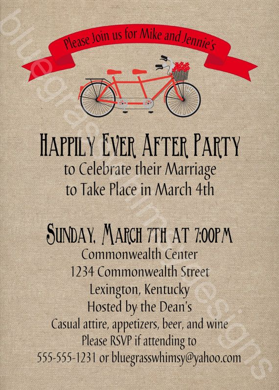 great invitation idea for a celebration after the pop up wedding or elopement tandem bicycle - Post Wedding Reception Invitation Wording