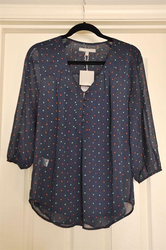 Daniel Rainn Minna V-Neck 3/4 Sleeve Dot-Print Blouse - love the cut of the sleeves, button detail and pattern