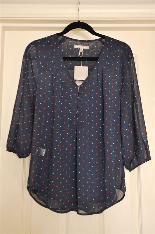 Daniel Rainn Minna V-Neck 3/4 Sleeve Dot-Print Blouse - love the cut of the sleeves, button detail and pattern