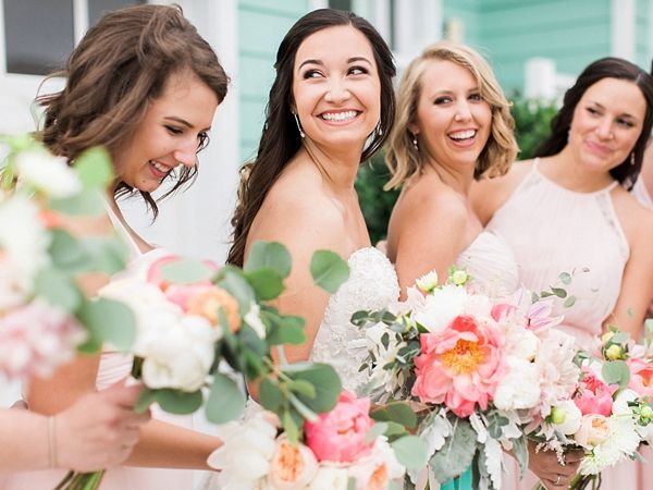Smiling Bride and Bridesmaids    #wedding #weddingideas #aislesociety #blushwedding