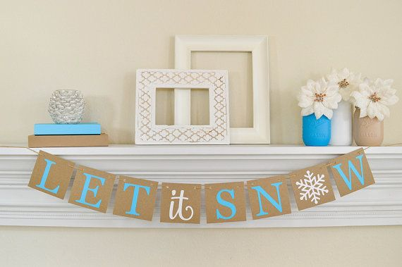 Our Christmas Banner is a perfect Let It Snow banner for your Christmas Garland and Blue Christmas Decor. This blue Christmas winter banner is a