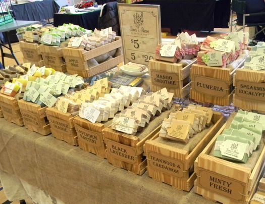 Soap Display - looks great set on top of wooden crates with the scent shown on the front.
