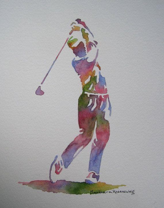 Golf Man Barbara Rosenzweig Art Print Etsy by BarbaraRosenzweig, $29.00