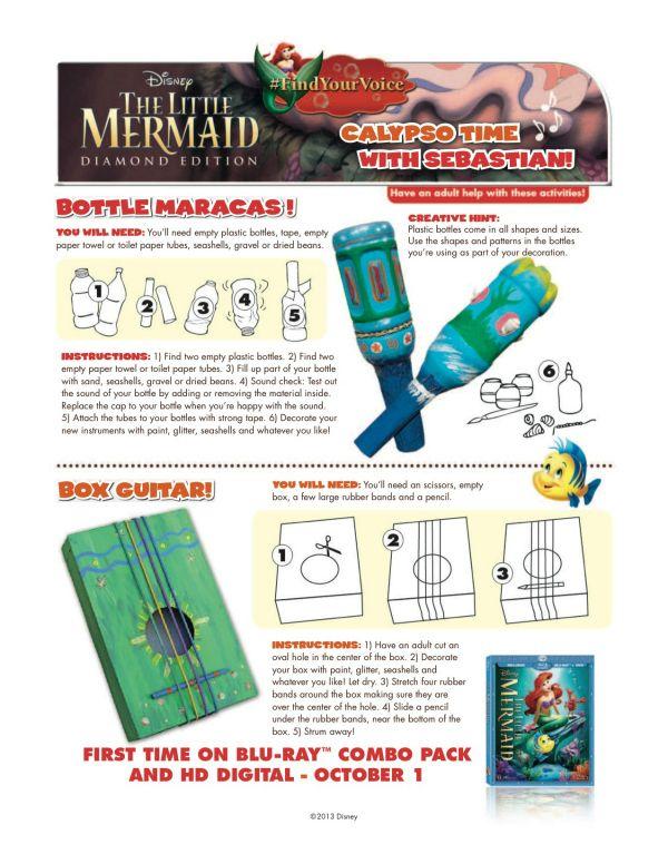 Little Mermaid Printable Calypso Music Craft - Maracas and Guitar
