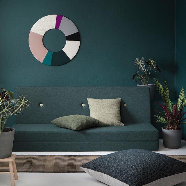 KK XL Cushion Dark Blue Argent and KK 3 fold deep green w. light green button from by KlipKlap Styling: @thesweetspotdk Photographer: @bjarnijacobsen
