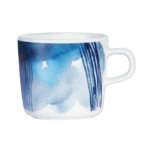 A petite porcelain beauty depicting heavy rain clouds rolling over the Finnish archipelago. Marimekko Sääpäiväkirja Blue/White Coffee Cup - $24