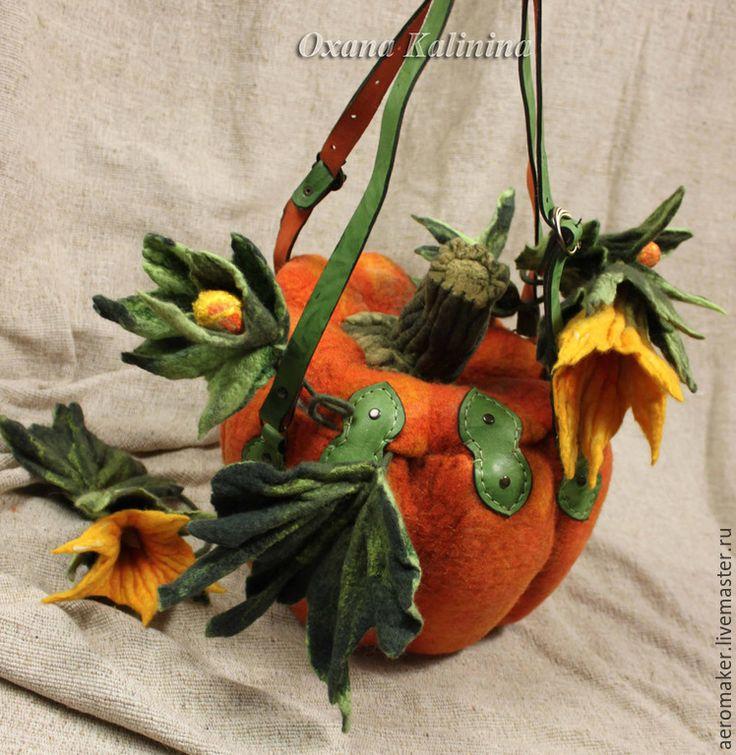 """Купить Сумка войлочная """"Тыква-два"""" - рыжий, оранжевый цвет, зеленый цвет, сумка войлочная"""