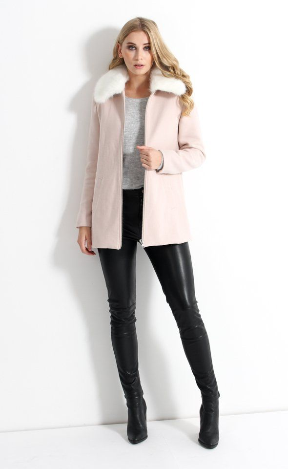 Ultra-lush and feminine in a soft blush with faux fur collar. A classic style for winter, throw over any outfit to stay warm.