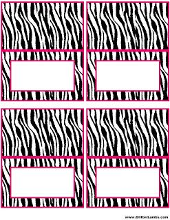 Pink Zebra Food Label Cards And Free Printable Cupcake Topper Templates For A DIY Pink Zebra Birthday Party