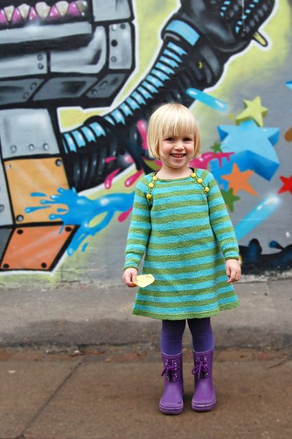 'Nova' child's knitted dress pattern by Signe S. Simonsen.  Download from Ravelry.