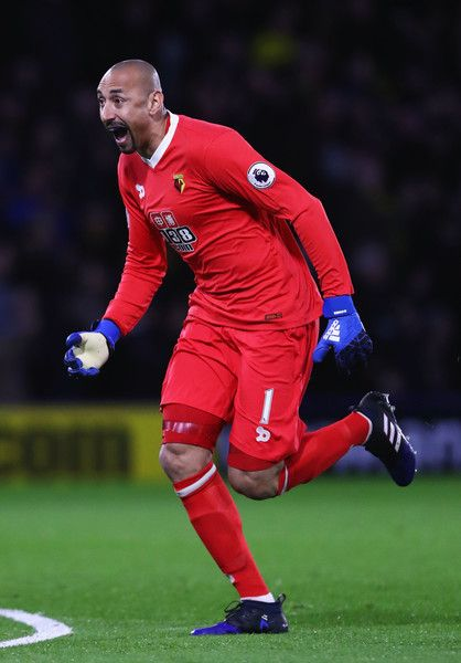 Heurelho Gomes of Watford celebrates as Troy Deeney of Watford scores the first goal during the Premier League match between Watford and West Ham United at Vicarage Road on February 25, 2017 in Watford, England.