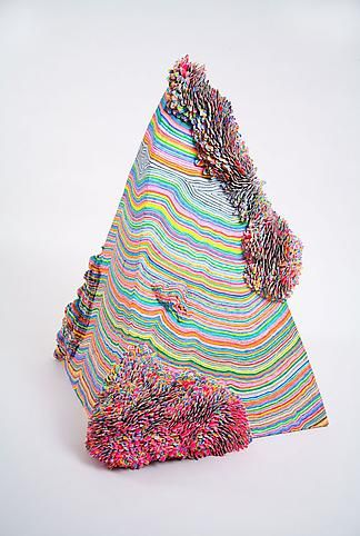 """Mindy Shapero. The moment all the universes opened up to more,  simultaneously right before they disappear into thin air, 2006 wood, masonite, epoxy, acrylic, and acrylic coated paper,  40"""" x 25"""" x 25""""Universe Open, Shapero 2006, The Universe, Contemporary Wood Sculpture, Mindy Shapero, Pyramid Sculpture, Moments"""