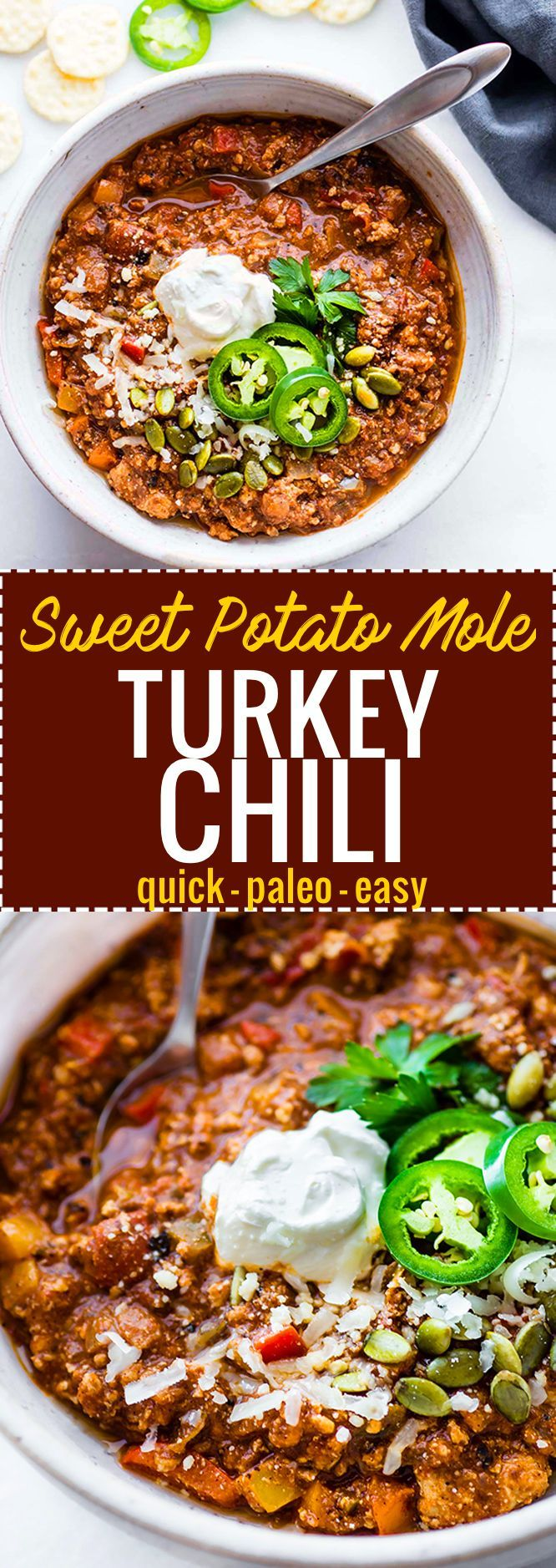 Quick Sweet Potato Mole Turkey that's Paleo friendly, simple to make, and healthy! A hearty Turkey chili made with an easy homemade sweet potato mole sauce. Great to feed a crowd, for meal prep, or to use up those holiday leftovers. http://www.cottercrunch.com /cottercrunch/