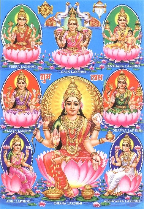 8x lakshmi      Adi Lakshmi:  Mother Lakshmi resides with Lord Narayana in the Vaikuntha, the abode of Lord Narayana.  Actually mother Adi Lakshmi and Narayana are not two different entities but one only.  Many a place we see her form sitting in the lap of Sri Narayana.      Dhanya Lakshmi:  Dhanya means grains.  This includes all kind of purified food containing all essential vitamins, minerals, protein, calcium, carbohytrade and so on.