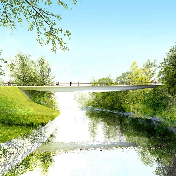 Ponte Salford Meadows. Avery Associates Architects. Salford, Grande Manchester, Inglaterra. 2013. (concurso)