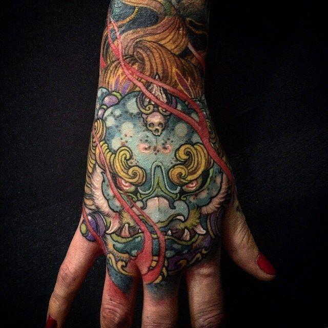 Foo Dog Tattoo - http://giantfreakintattoo.com/foo-dog-tattoo/