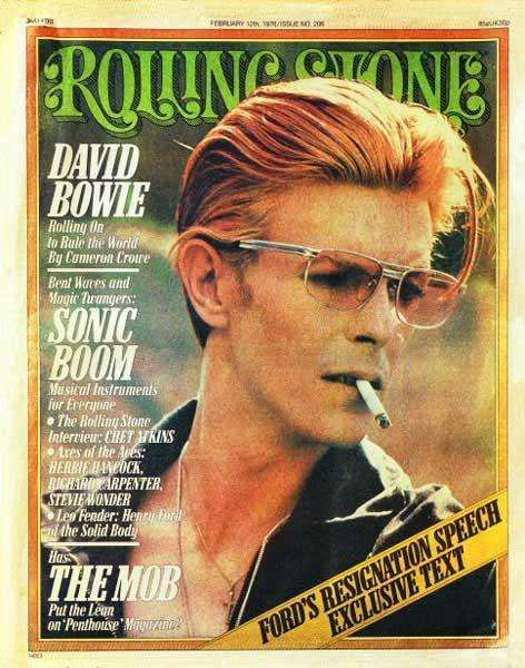David Bowie on the cover of Rolling Stone, February 1976.