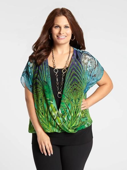 Laura Plus | Jungle Print Crossover Top - Green Pattern/Blue Pattern
