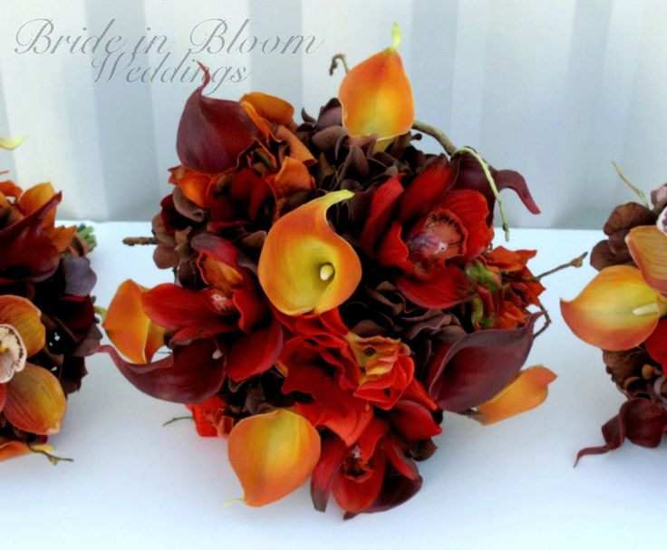 Fall wedding bouquet set, Autumn wedding flowers - Red orange and brown Bridesmaid bouquets, Boutonnieres by BrideinBloomWeddings on Etsy https://www.etsy.com/listing/117941522/fall-wedding-bouquet-set-autumn-wedding