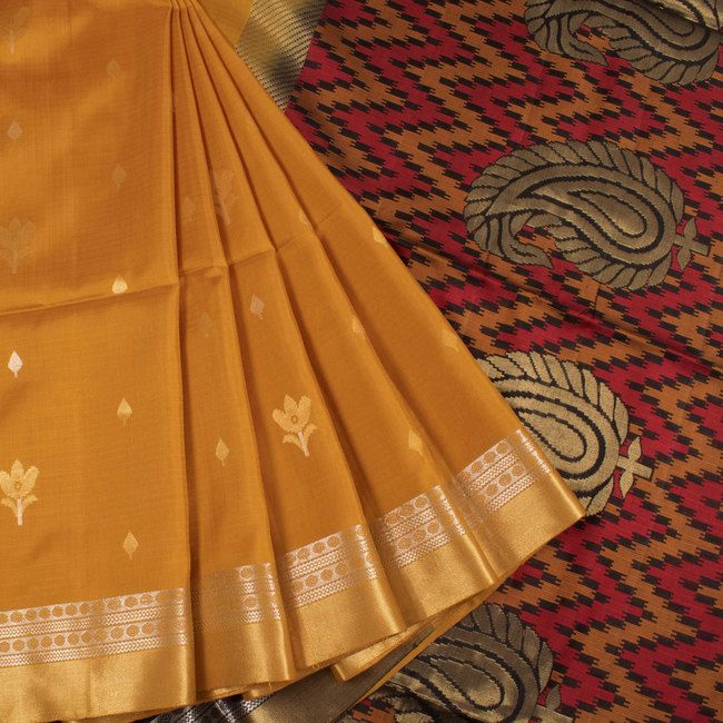 Handwoven Yellow South Silk Saree With Floral Motifs & Zari Border 10018624 - AVISHYA.COM