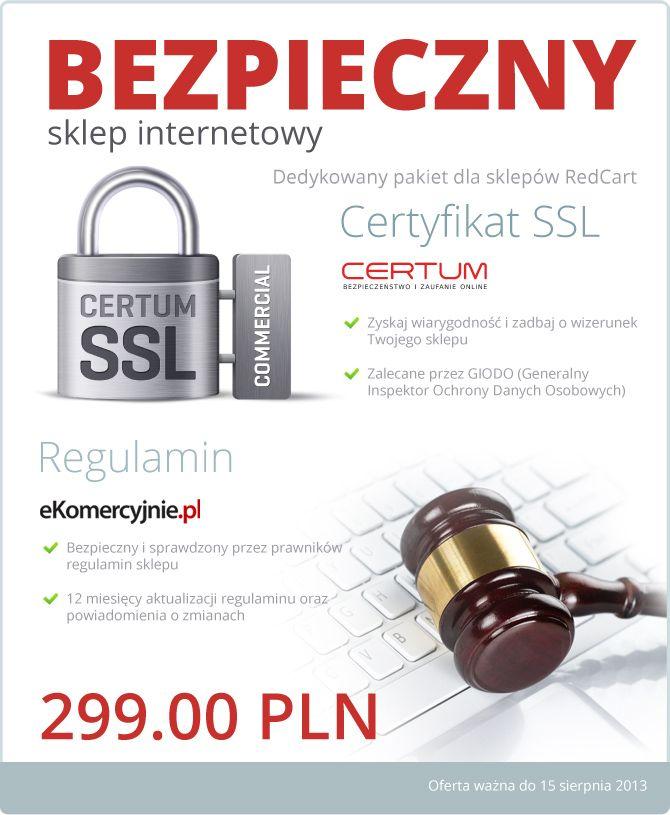 Ostatnie dni oferty! Pakiet Bezpieczny Sklep Internetowy, czyli Certyfikat SSL wraz z usługą instalacji oraz Regulamin sklepu internetowego z 12-miesięczną opieką prawną w cenie 299 zł netto, jest dostępny jedynie do 15 sierpnia!