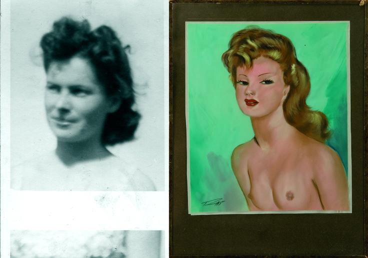 1950 - Une peinture de femme avec une coiffure typique années cinquante, collection privée © Solo-Mâtine