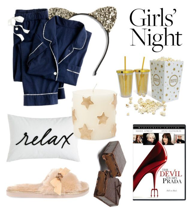 """""""Girls' Night In - Movie Night"""" by anca2 on Polyvore featuring Cara, Charter Club, J.Crew, River Island, Prada and Zodax"""