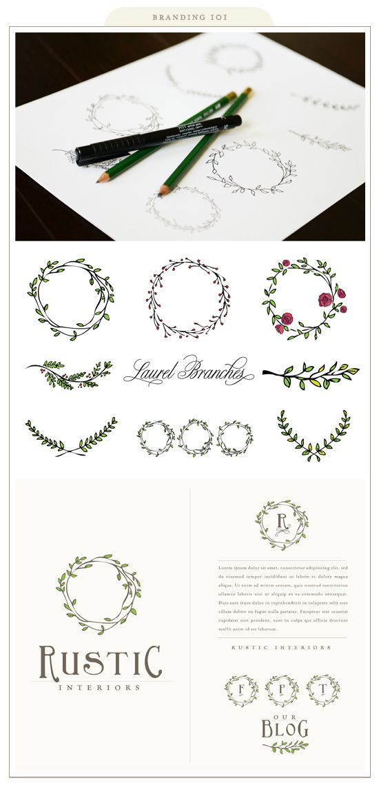 Rustic country laurel wreaths- adore but with watercolor blue flower buds