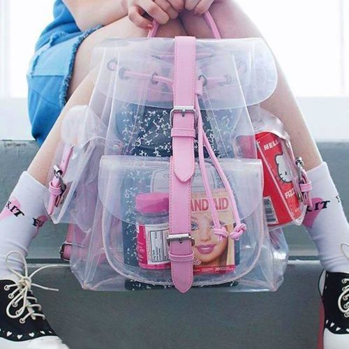 Girls-Korean-Lovely-Style-Summer-Sport-Backpack-Clear-Transparent-Schoolbag-Tote
