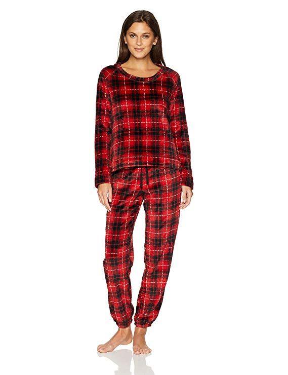 5d6d467b2356b Mae Women s Sleepwear Marshmallow Fleece Pullover Top and Jogger Pajama  Set