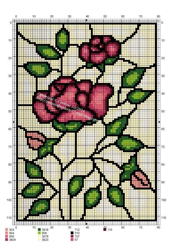 σχέδια βιτρώ για κέντημα / stained glass cross stitch patterns