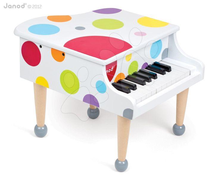 Máte doma malého klaviristu? Veľký drevený klavír Janod Confetti Grand Piano s realistickými zvukmi a jedinečnom farebnom prevedení poteší všetkých malých hudobníkov.