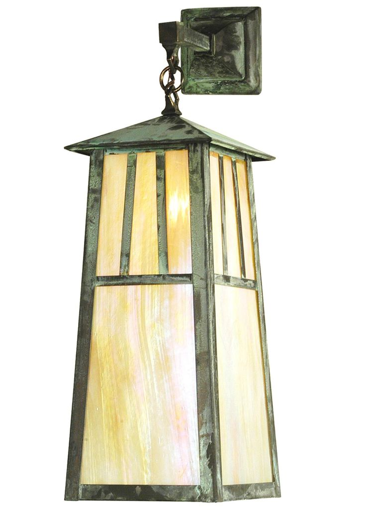 8 Inch W Stillwater Double Bar Mission Elongated Hanging Wall Sconce. 8 Inch W Stillwater Double Bar Mission Elongated Hanging Wall SconceThe Double Bar Mission has a pair Arts and Craftsstyle crossed bars that accent this handsome American Craftsman lantern style wall sconce. The fixture,handcrafted in the USA by Meyda artisans, is finished in Verdi and has Beige Iridescent glass panels. Theme:  ARTS & CRAFTS Product Family:  Stillwater Double Bar Mission Product Type:  WALL SCONCES Product…