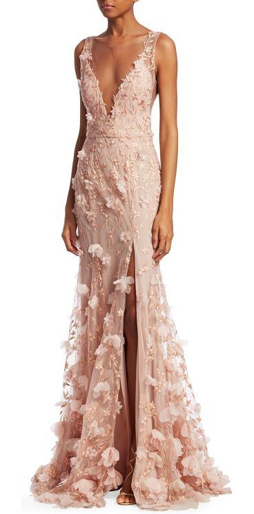 e1b96df810a9 v-neck floral front slit mermaid gown by Notte by Marchesa. Embroidered  mermaid gown with floral appliques. Deep V-neck. Sleeveless. Concealed back  zip.