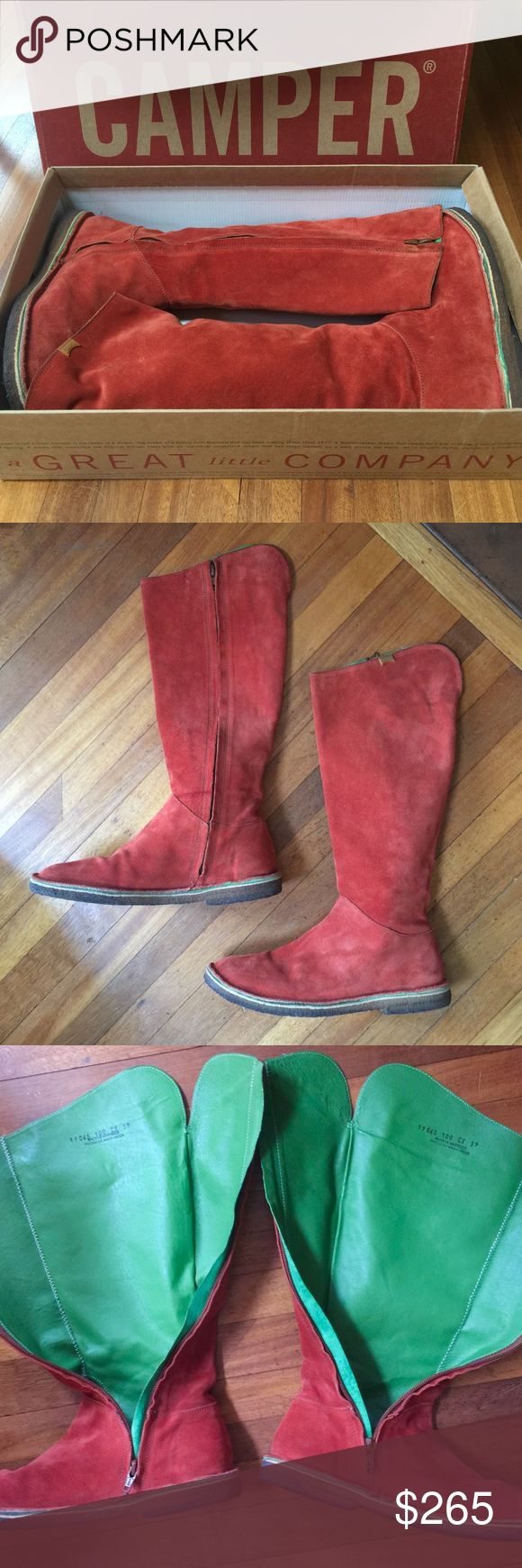 "Suede CAMPER Boots Rare, unique, exclusive! Gorgeous red suede Camper boots in excellent condition. Full length side zipper. Green leather contrast lining. Top edge of boots can be folded over if you want to show the contrast color as there is a slit at the top center back (shown in photos). Beautiful stitching throughout. Crepe soles are great for no-slip grip. Measurements: 13"" calf circumference, 15"" shaft height, 1"" heel. Size 39 (US 8-8.5). Please message with any questions. Thanks…"