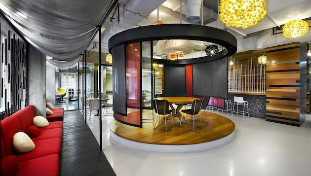 fun filled jakarta advertising agency offices love to round meeting room with red panels interiors obsession pinterest jakarta advertising agency advertising agency office