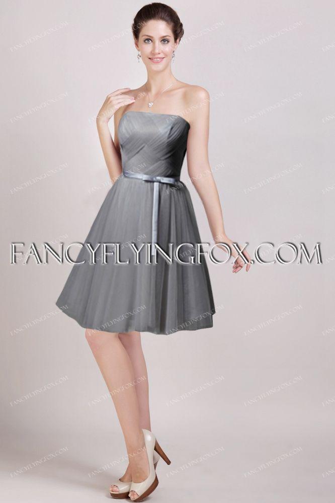 Simple Gray Knee Length Bridesmaid Dresses 2016