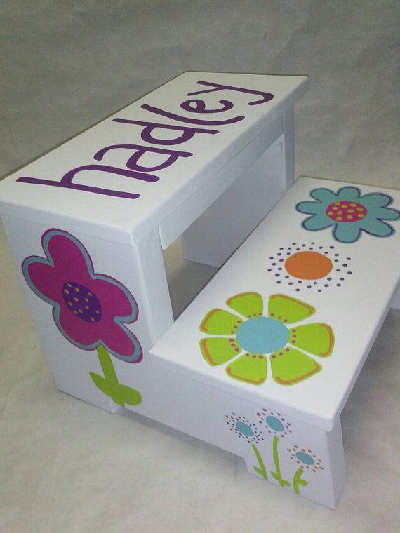 Children's Step Stool (funky flowers) on Etsy, $45.00