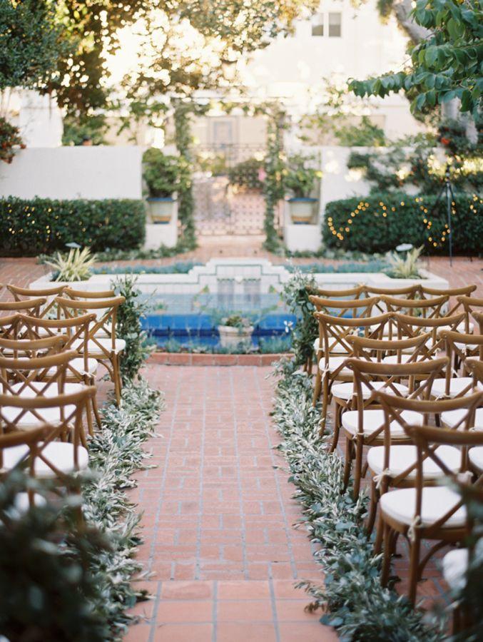 Pretty al fresco ceremony decor: http://www.stylemepretty.com/california-weddings/la-jolla/2016/04/09/elegant-la-jolla-wedding-full-of-sparkling-neutrals/ | Photography: Bryan N. Miller - http://bmillerweddings.com/