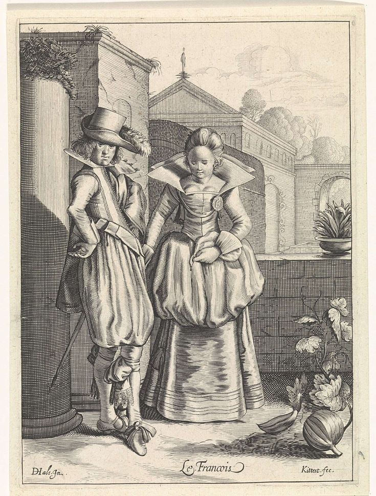 Cornelis van Kittensteyn, 1610 - 1638, Elegant couple wearing French clothing, engraving