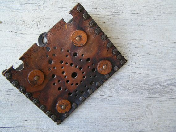Ornate Leather Wall Letter Holder Rustic Distressed by MeshuMaSH