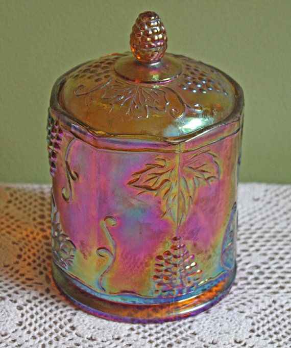 Carnival Glass Container with Lid.  Counter Top Candy Dish or