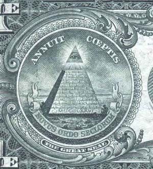 "The insigna of the Order of the Illuminati first appeared on the reverse side of U.S. one-dollar bills in 1933.at the base of the 13-story pyramid, the year 1776 (MDCCLXVI). The ""all-spying eye""symbolizes the terroristic, Gestapo-like, agency set up by Weishaupt. Latin words ""ANNUIT COEPTIS"" mean ""our enterprise has been crowned with success.""  ""NOVUS ORDO SECLORUM"" explains the nature of the enterprise: a ""New Social Order"" or a ""New World Order""."