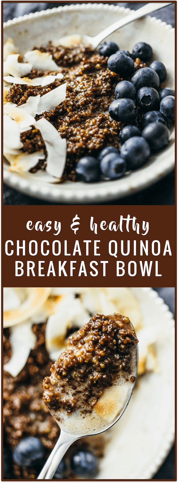 You'll love this chocolate quinoa breakfast bowl recipe with toasted coconut chips and fresh blueberries -- it's easy to make, healthy, and vegan. BobsQuinoa AD