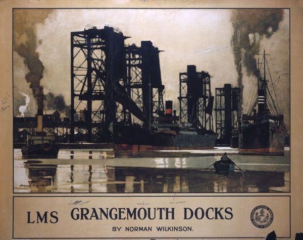 'Grangemouth Docks', LMS poster, Norman Wilkinson industrial